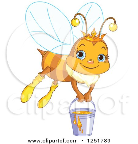 Clipart of a Cute Queen Bee Flying with a Bucket of Honey - Royalty Free Vector Illustration by Pushkin
