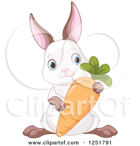 Clipart of a Cyte Bunny Rabbit with a Carrot - Royalty Free Vector Illustration by Pushkin