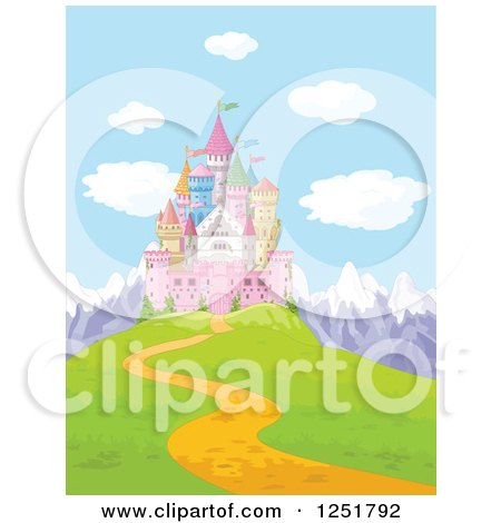 Clipart of a Fairy Tale Castle on a Mountainous Hilltop - Royalty Free Vector Illustration by Pushkin