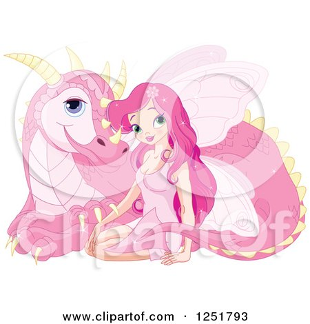 Clipart of a Pink Fairy and Dragon Resting - Royalty Free Vector Illustration by Pushkin