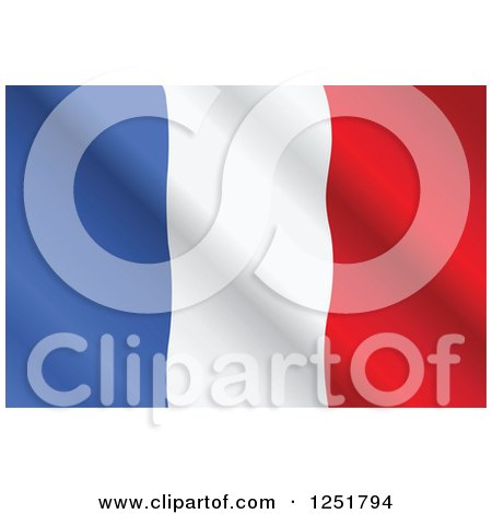 Clipart of a Rippling French Flag - Royalty Free Vector Illustration by Pushkin