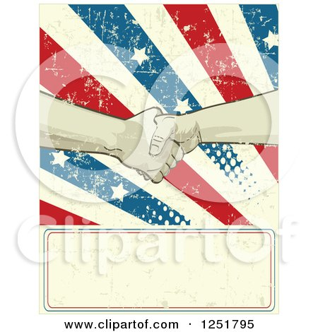 Clipart of Union Workers Shaking Hands over a Grungy American Burst and Sign - Royalty Free Vector Illustration by Pushkin