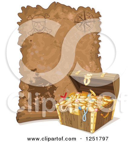 Clipart of a Parchment Treasure Map Scroll and Chest - Royalty Free Vector Illustration by Pushkin