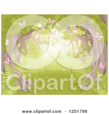Clipart of a Forest Background with a Tree Canopy Ferns and Pink Spring Butterflies - Royalty Free Vector Illustration by Pushkin