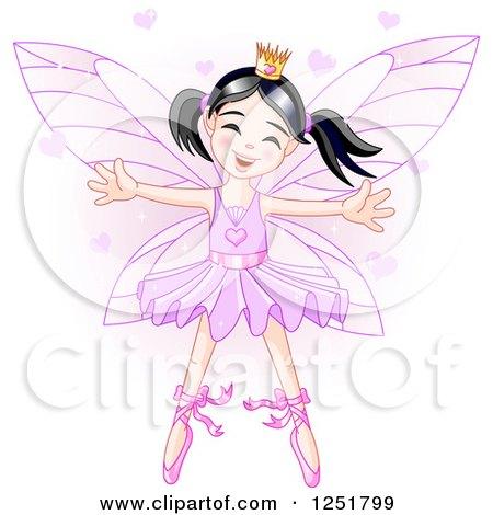 Clipart of a Cute Asian Fairy Girl in a Purple Ballerina Tu Tu - Royalty Free Vector Illustration by Pushkin