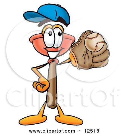 Clipart Picture of a Sink Plunger Mascot Cartoon Character Catching a Baseball With a Glove by Toons4Biz