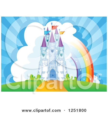 Clipart of a Fairy Tale Castle with Clouds and a Rainbow - Royalty Free Vector Illustration by Pushkin