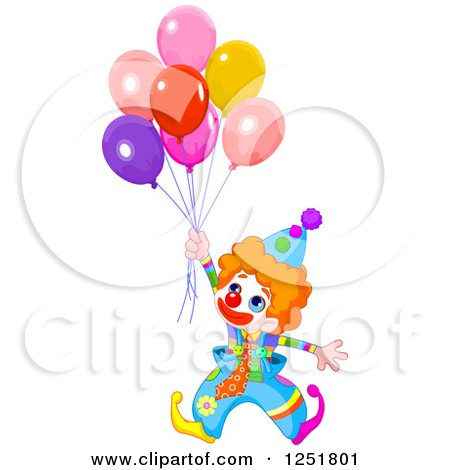 Clipart of a Cute Red Haired Clown with Party Balloons - Royalty Free Vector Illustration by Pushkin