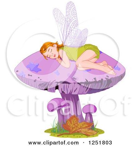 Clipart of a Cute Fairy or Elf Girl Sleeping on a Purple Mushroom - Royalty Free Vector Illustration by Pushkin