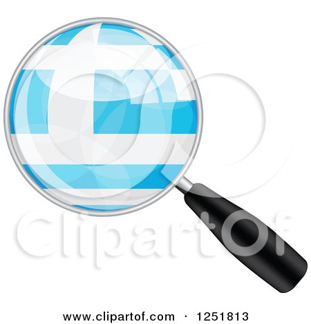Clipart of a Magnifing Glass with a Greek Flag - Royalty Free Vector Illustration by Andrei Marincas
