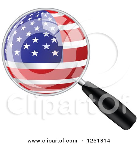 Clipart of a Magnifing Glass with an American Flag - Royalty Free Vector Illustration by Andrei Marincas