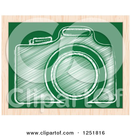 Clipart of a Sketched Camera on a Chalkboard - Royalty Free Vector Illustration by Andrei Marincas