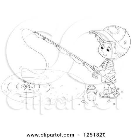 Clipart of a Black and White Boy Fishing - Royalty Free Vector Illustration by Alex Bannykh