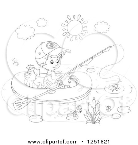 Clipart of a Black and White Boy and His Dog Fishing from a Raft - Royalty Free Vector Illustration by Alex Bannykh