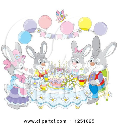 Clipart of a Rabbit Family Having Cake on Easter - Royalty Free Vector Illustration by Alex Bannykh