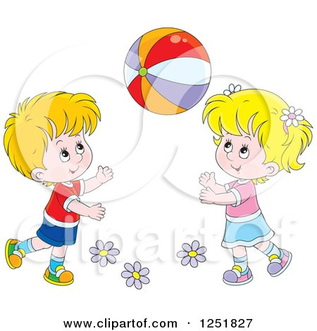 Clipart of a Blond White Boy and Girl Playing with a Ball - Royalty Free Vector Illustration by Alex Bannykh