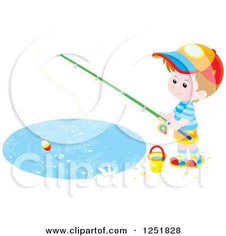 Clipart of a Brunette White Boy Fishing - Royalty Free Vector Illustration by Alex Bannykh