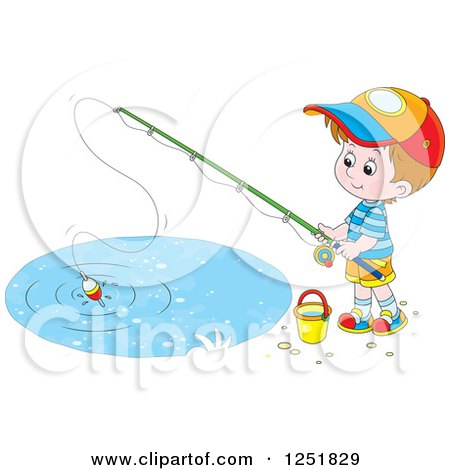 Clipart of a Brunette Caucasian Boy Fishing - Royalty Free Vector Illustration by Alex Bannykh