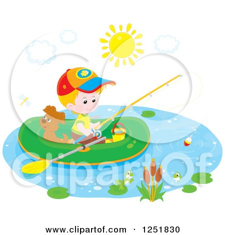 Clipart of a White Boy and His Dog Fishing from a Raft - Royalty Free Vector Illustration by Alex Bannykh