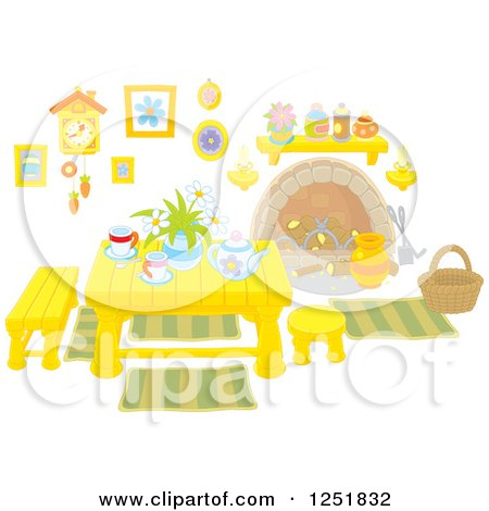 Clipart of a Table with Tea Inside a Cabin - Royalty Free Vector Illustration by Alex Bannykh