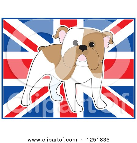 Clipart of a Cute Standing English Bulldog over a Uk Flag - Royalty Free Vector Illustration by Maria Bell