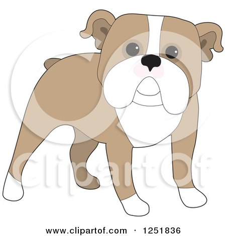 Clipart of a Cute Standing English Bulldog - Royalty Free Vector Illustration by Maria Bell