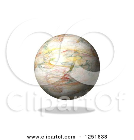 Clipart of a 3d Fractal Globe and Shadow on White - Royalty Free Illustration by oboy