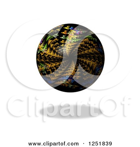Clipart of a Colorful Kaleidoscope Globe and Shadow on White - Royalty Free Illustration by oboy