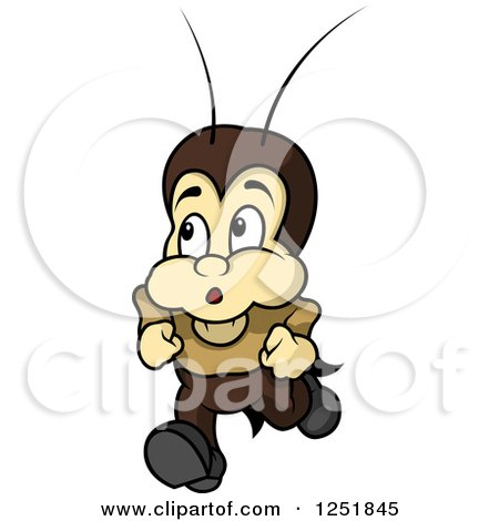 Clipart of a Worried Cricket Running - Royalty Free Vector Illustration by dero