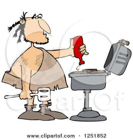 Clipart of a Caveman Squeezing Ketchup on Meat on a Bbq Grill - Royalty Free Vector Illustration by djart