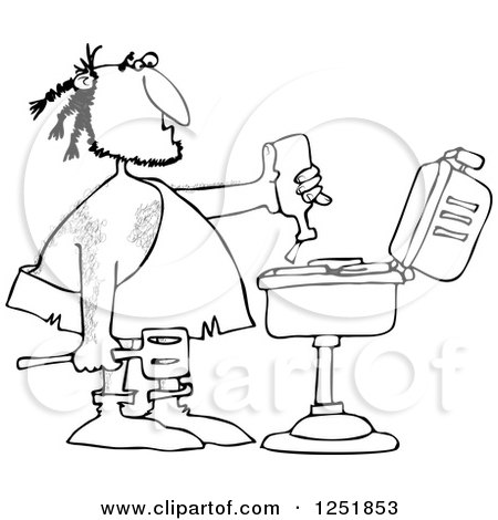 Clipart of a Black and White Caveman Squeezing Ketchup on Meat on a Bbq Grill - Royalty Free Vector Illustration by djart