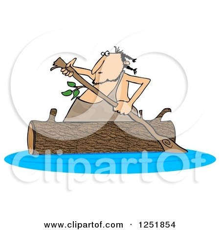 Clipart of a Caveman Rowing a Log Canoe on a River - Royalty Free Illustration by djart