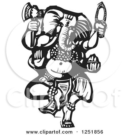 Clipart of a Black and White Woodcut Hindu God Ganesha with an Axe - Royalty Free Vector Illustration by xunantunich