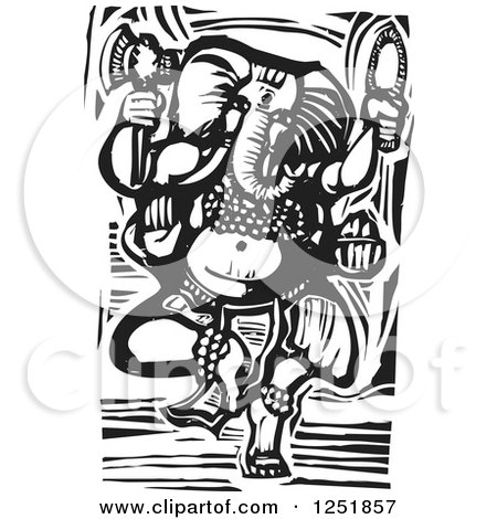Clipart of a Black and White Woodcut Hindu God Ganesha - Royalty Free Vector Illustration by xunantunich