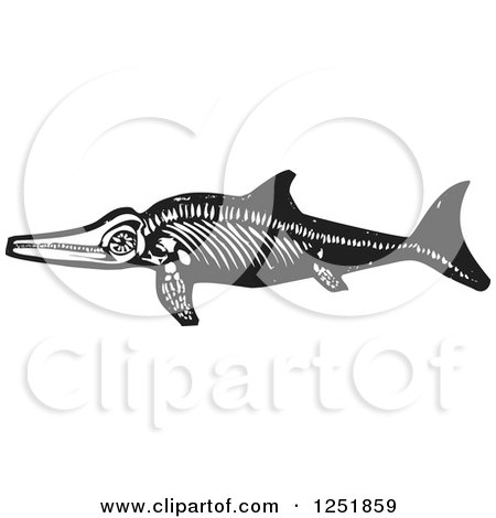 Clipart of a Black and White Woodcut Ichthyosaur Dinosaur Fossil - Royalty Free Vector Illustration by xunantunich