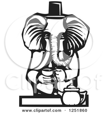 Clipart of a Black and White Woodcut Tea Party Elephant - Royalty Free Vector Illustration by xunantunich