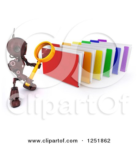 Clipart of a 3d Red Android Robot Using a Magnifying Glass to Search Folders - Royalty Free Illustration by KJ Pargeter