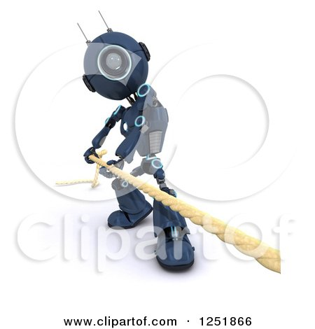 Clipart of a 3d Blue Android Robot Pulilng a Rope - Royalty Free Illustration by KJ Pargeter