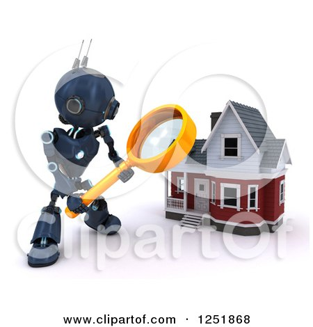 Clipart of a 3d Blue Android Robot Using a Magnifying Glass to Search a Home - Royalty Free Illustration by KJ Pargeter