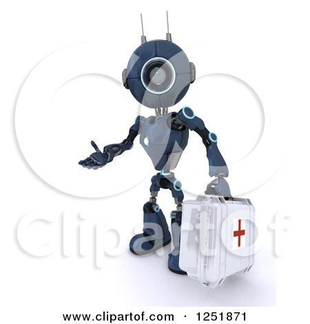 Clipart of a 3d Blue Android Robot Paramedic Carrying a First Aid Kit - Royalty Free Illustration by KJ Pargeter