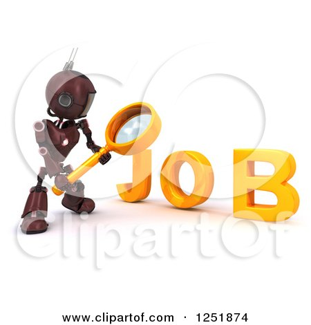 Clipart of a 3d Red Android Robot Using a Magnifying Glass to Search for a Job - Royalty Free Illustration by KJ Pargeter