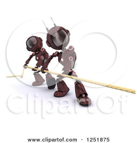 Clipart of 3d Red Android Robots Pulling a Rop in Tug of War - Royalty Free Illustration by KJ Pargeter