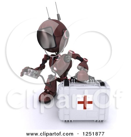 Clipart of a 3d Red Android Robot Paramedic Using a Stethoscope by a First Aid Kit - Royalty Free Illustration by KJ Pargeter