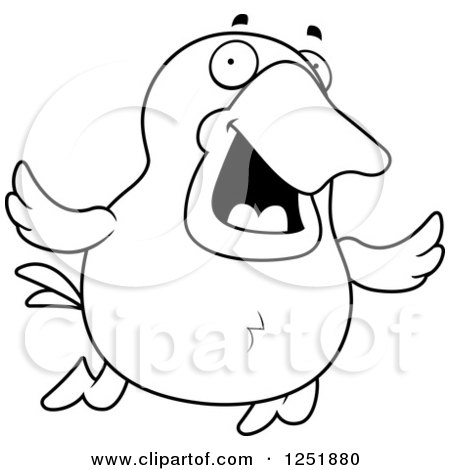 Clipart of a Black and White Happy Flying Duck - Royalty Free Vector Illustration by Cory Thoman