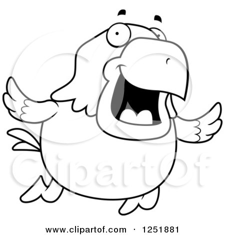 Clipart of a Black and White Flying Happy Bald Eagle - Royalty Free Vector Illustration by Cory Thoman