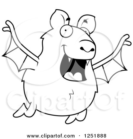 Clipart of a Black and White Happy Vampire Bat Flying - Royalty Free Vector Illustration by Cory Thoman