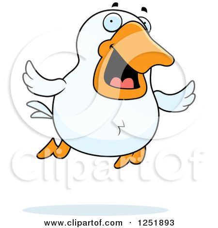 Clipart of a Happy Flying Duck - Royalty Free Vector Illustration by Cory Thoman