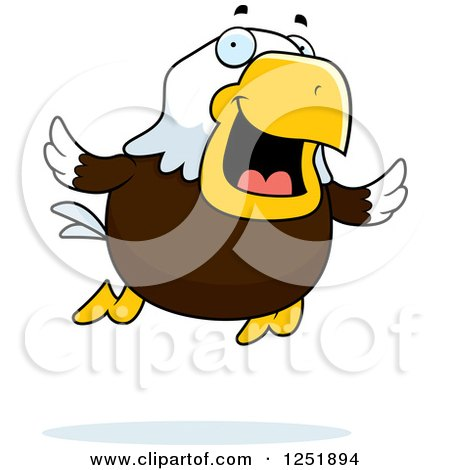 Clipart of a Flying Happy Bald Eagle - Royalty Free Vector Illustration by Cory Thoman
