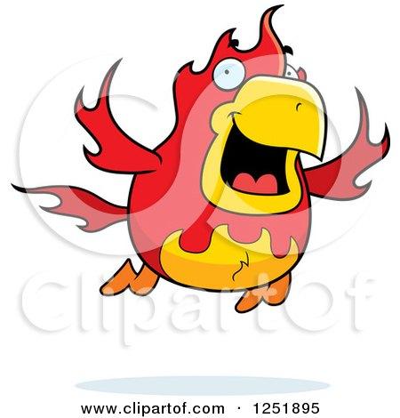 Clipart of a Flying Fire Bird Phoenix - Royalty Free Vector Illustration by Cory Thoman