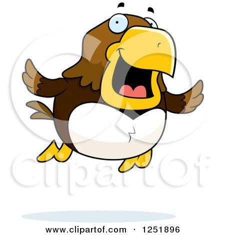 Clipart of a Flying Happy Hawk - Royalty Free Vector Illustration by Cory Thoman